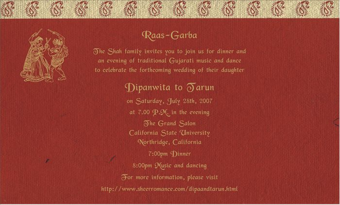 Indian Wedding Invite Wording: Indian Wedding Invitation Wording Template