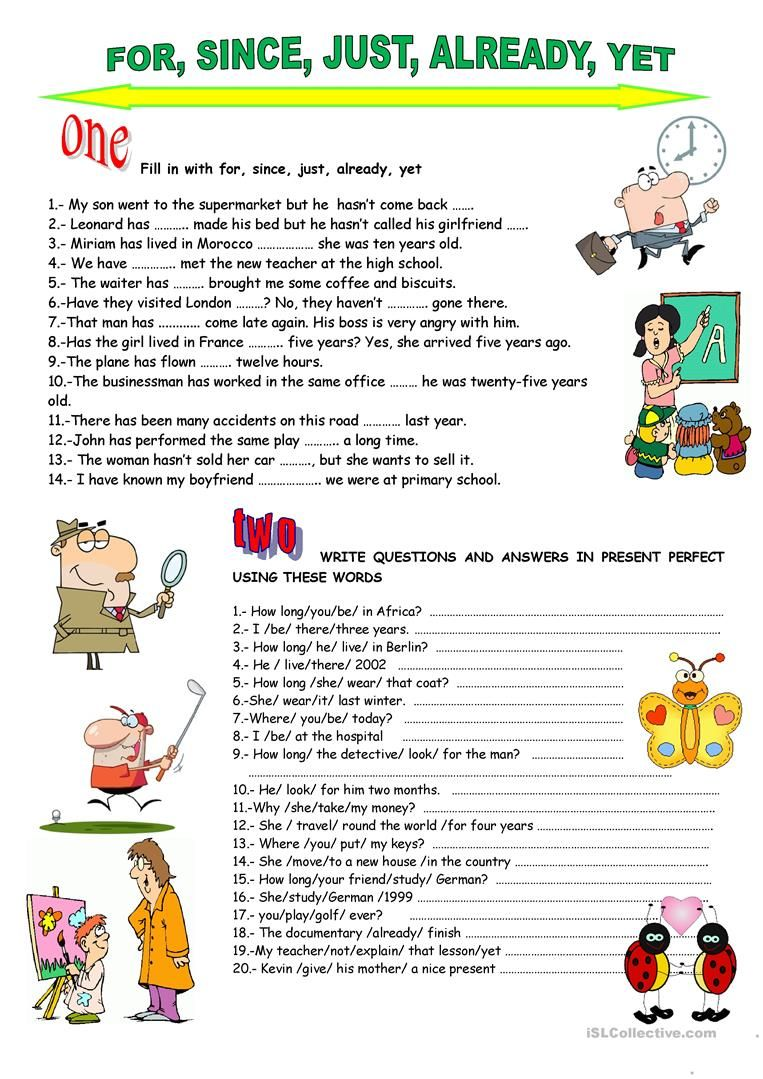 Present Perfect For Since Just Already Yet Worksheet Free Esl Printable Worksheets Made By Teachers Present Perfect English Lessons English Exercises