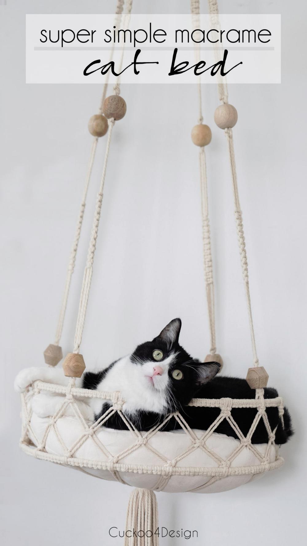 cute DIY cat bed using macrame cord