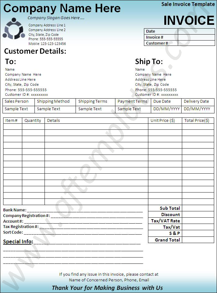 Invoice Generator Pdf Sales Invoice Template  6 Printable Word Excel And Pdf Formats .