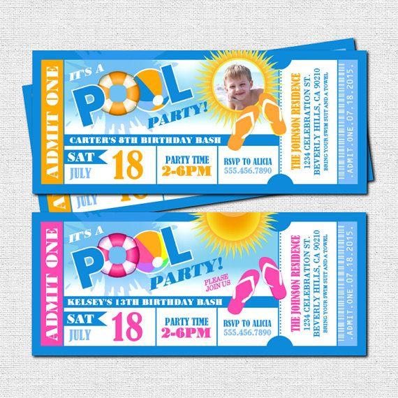 POOL PARTY TICKET INVITATIONS (Printable File) - Summer - printable ticket invitations