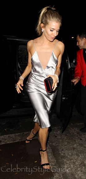 Sienna Miller Dazzles In Silver Slip Dress In 2019