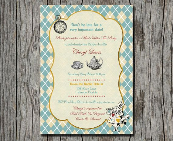 Mad Hatter Tea Party Invitation  Printable by pegsprints on Etsy