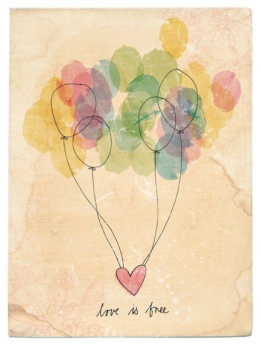 Free Love Archival Wall Art print Nursery Children\'s Art Balloons ...
