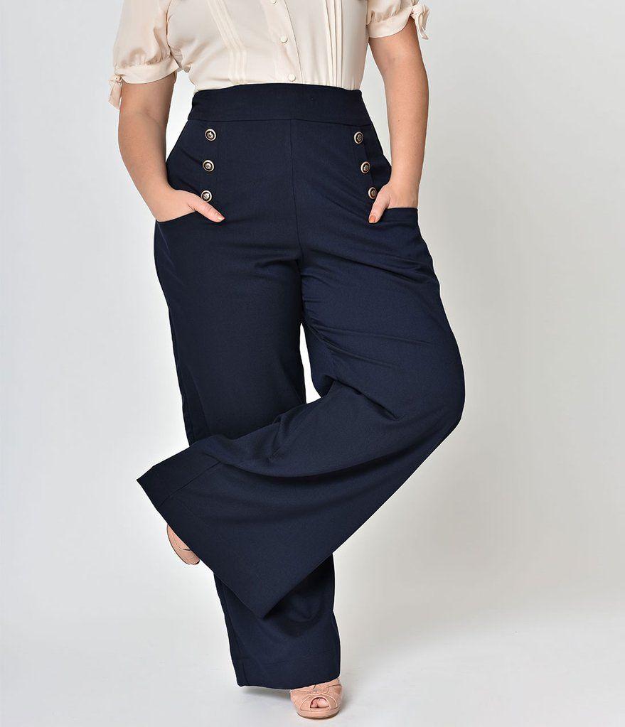 Unique Vintage Plus Size 1940s Style Midnight Blue High Waist Sailor Ginger Pants 1