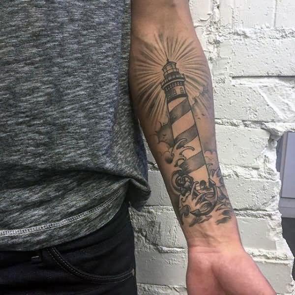 Grey Ink Left Forearm Lighthouse Tattoo Lighthouse Tattoo Forearm Tattoo Men Nautical Tattoo Sleeve