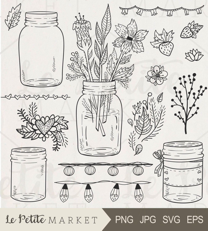 Mason Jar Clipart Mason Jar Wedding Clipart Mason Jar With Etsy In 2021 Mason Jar Clip Art How To Draw Hands Flower Drawing