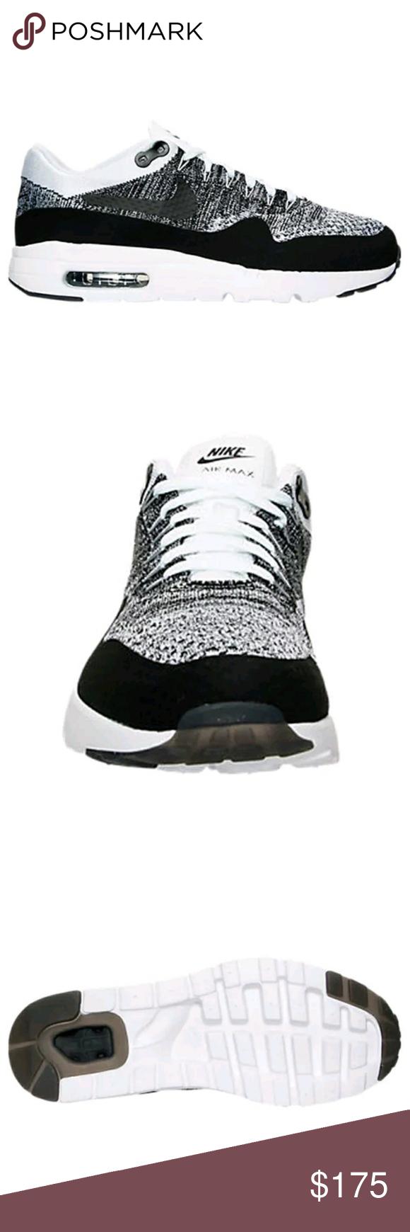 886b3b1faabf0 Nike Air Max 1 Ultra Flyknit 843384-100 OREO 11.5 Nike Air Max 1 Ultra  Flyknit 843384-100 Men s Running Shoes Color  White Black Style No  843384-100  100% ...