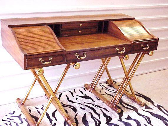 mid century modern  hollywood regency campaign desk  gold leaf x      rh   pinterest com