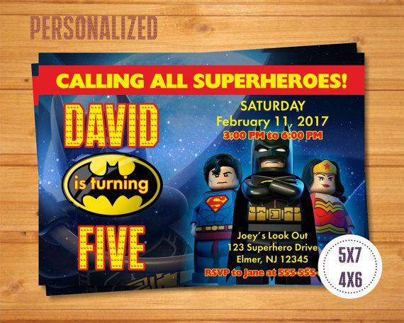 Batman Superman Lego Invitation, Batman Superman Birthday Party ...
