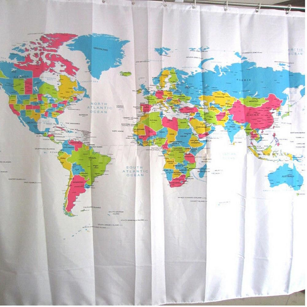 World Atlas Map Bath Shower Curtain With Hooks Bathroom Screen Bathstore