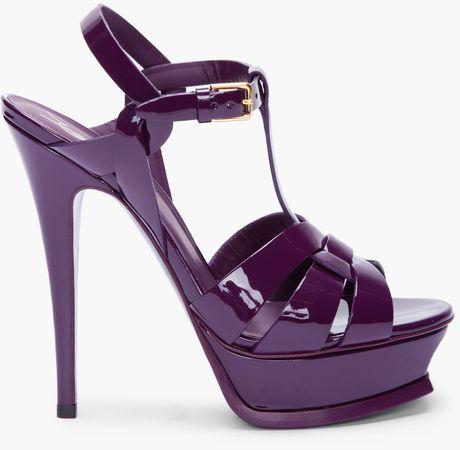 YVES SAINT LAURENT Purple Patent Tribute Heels