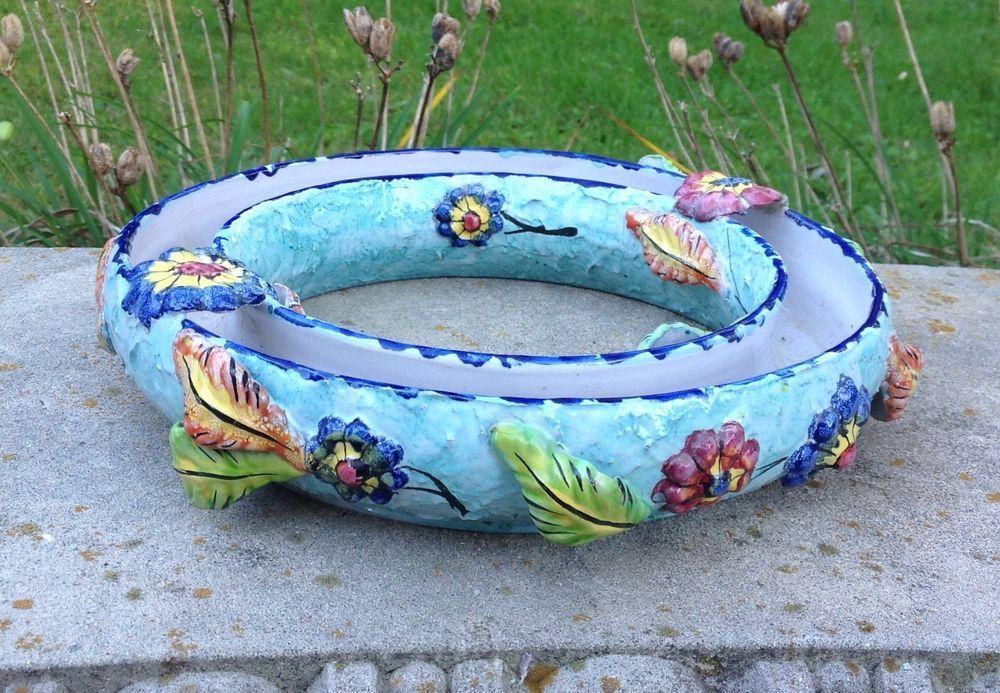 Vintage Italy Majolica Flower Holder Pansy Ring Pottery Art Majolica Flower Holder