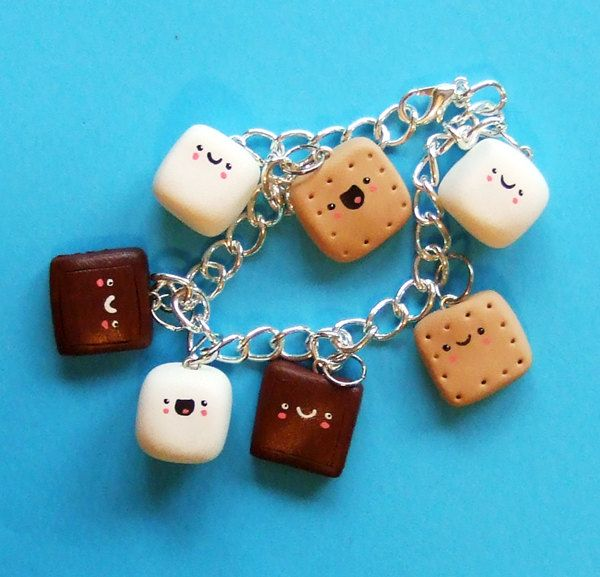 Polymer Clay Charm Bracelet Miniature Food Kawaii S'mores - Marshmallow Chocolate Graham Cracker.