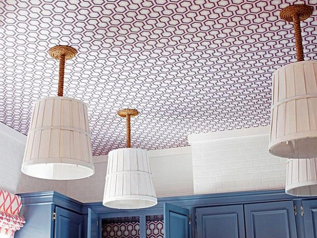 Decoration: Wooden Bushel Baskets DIY Pendant Lights With Conduits Covered In Rope For Nautical Look And Crisp Geometric Wallpaper Decoration Ideas: Stylish DIY Home Decoration Ideas, Easy but Stunning
