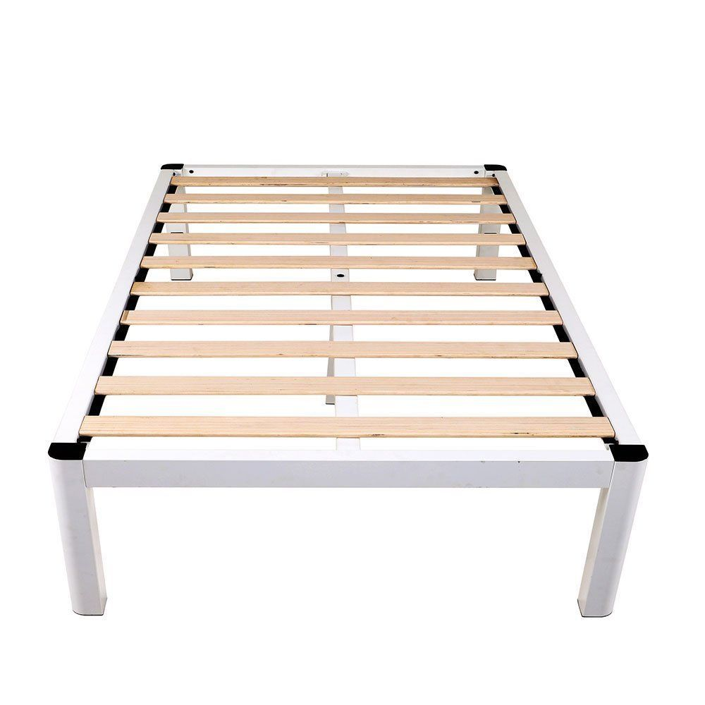 Intellibase 14 Deluxe White Metal Platform Bed Frame With Wooden