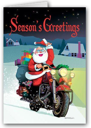 Harley Davidson Motorcycle Santa Card  12 carsd/13 envelopes