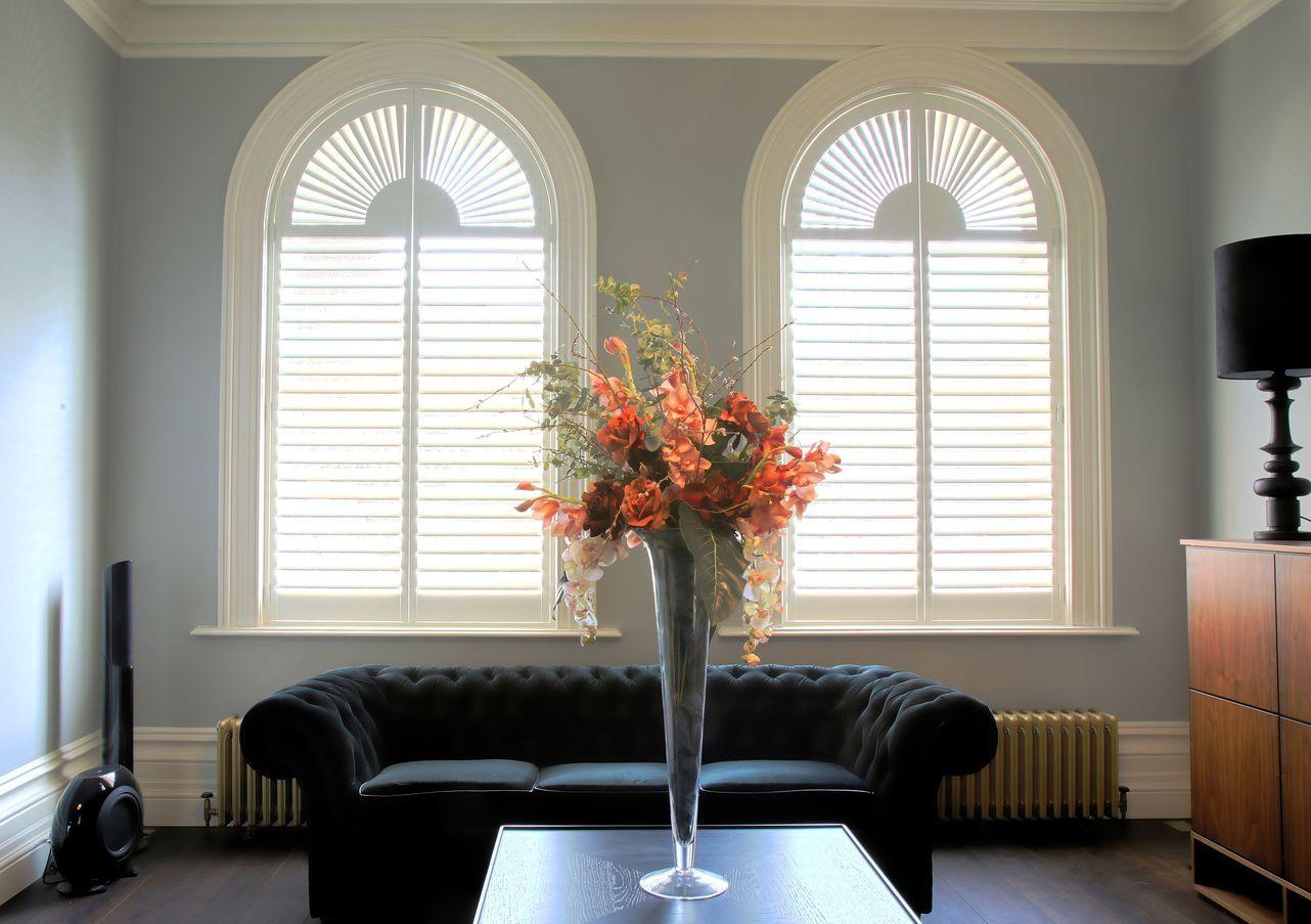 Custom arch shutters wooden window shutters the