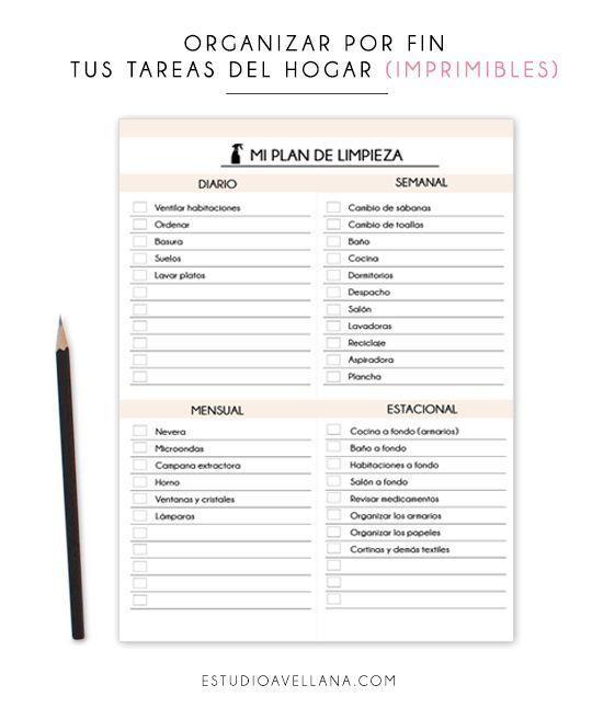 Organizar las tareas del hogar (Imprimibles