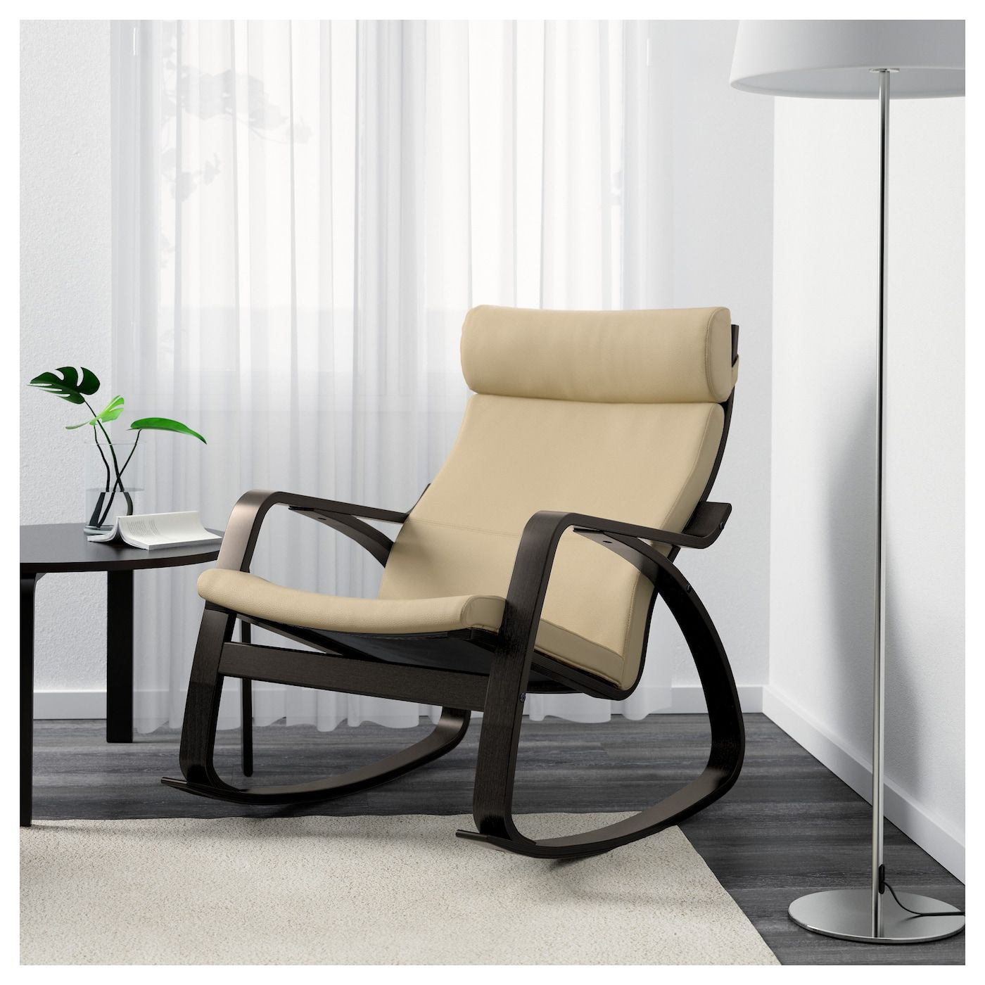 IKEA POÄNG Rocking chair blackbrown, Robust Glose off