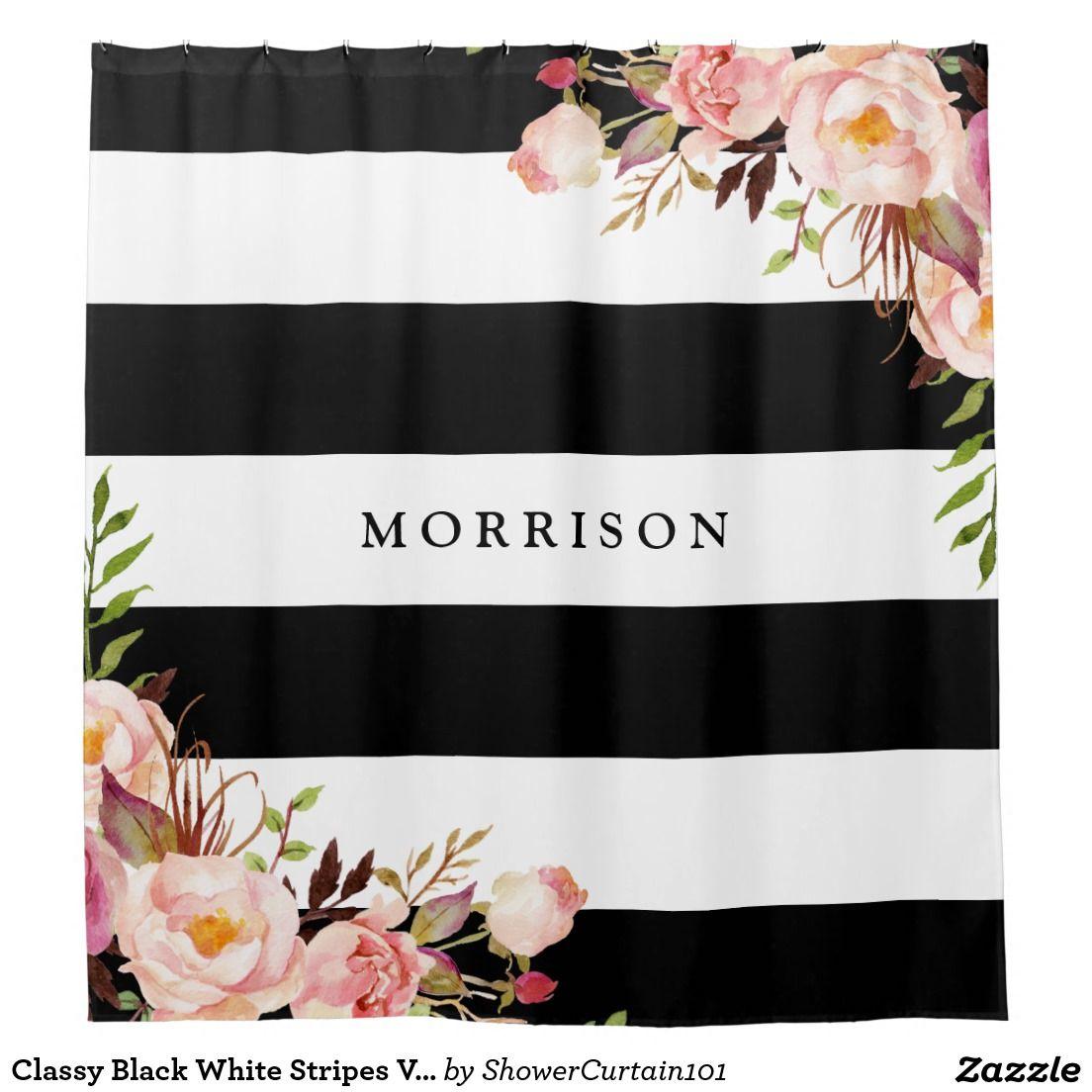 Classy Black White Stripes Vintage Floral Monogram Shower Curtain ...