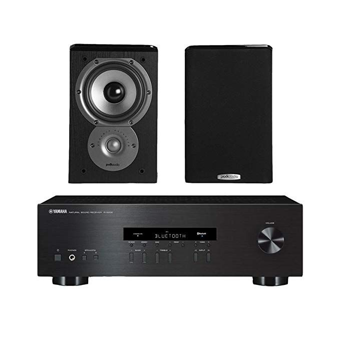 Yamaha   stereo receiver with bluetooth and polk tsi way bookshelf speakers driver pair black review also rh in pinterest