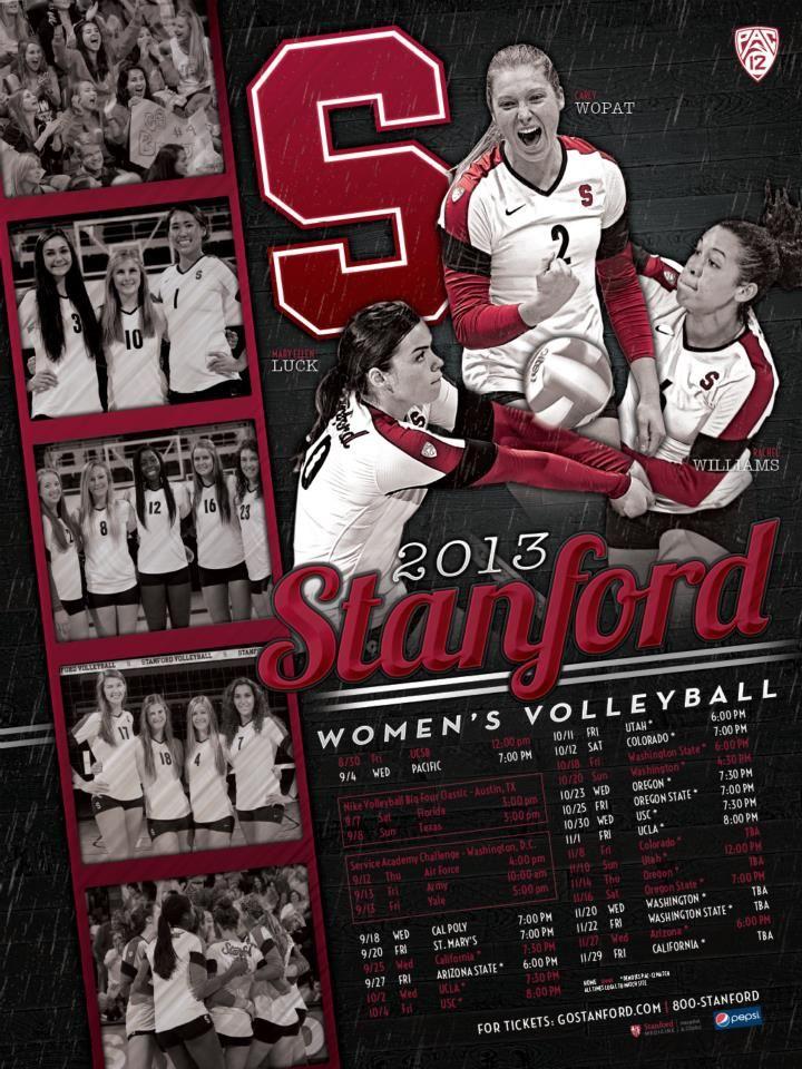 2013 Stanford Women S Volleyball Schedule Poster Volleyball Posters Basketball Posters Women Volleyball
