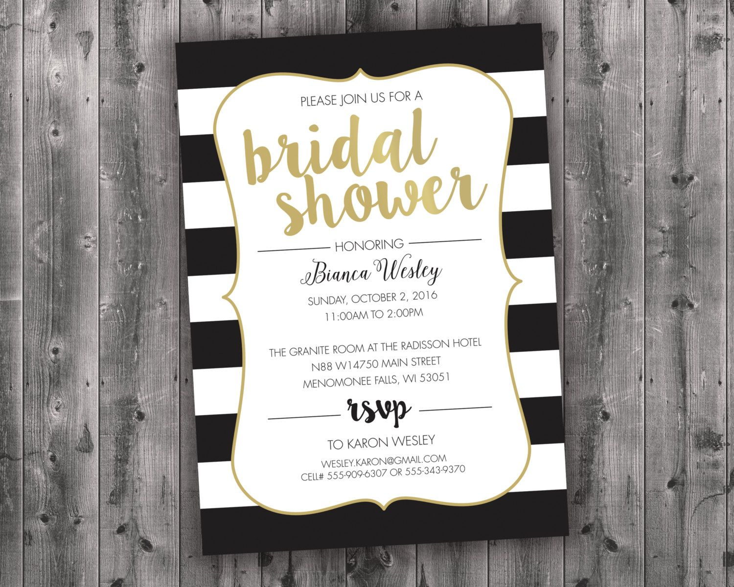 5a16f32829ba5 Black and White Bridal Shower Invitations, Bridal Shower Invitation ...
