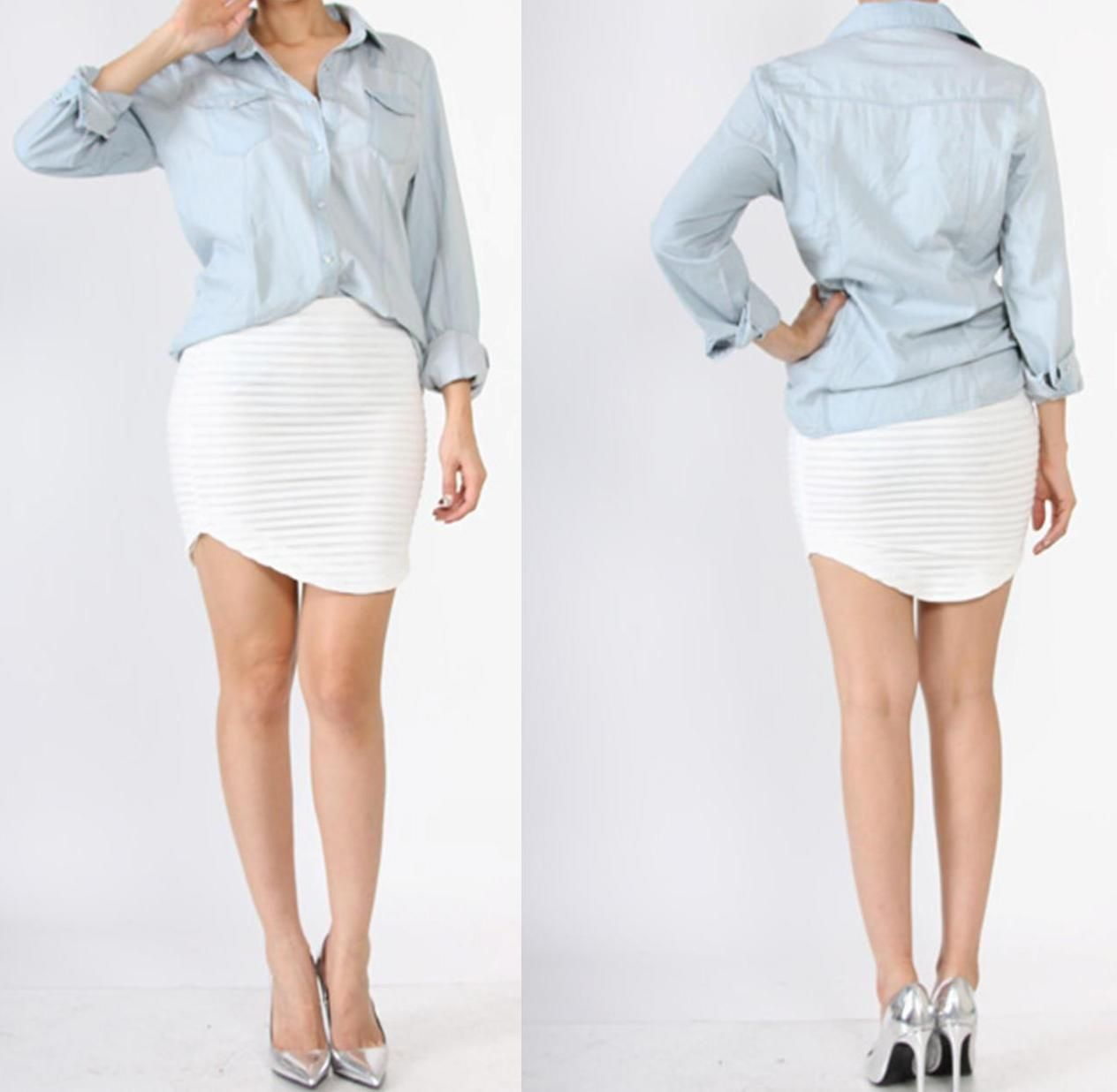Long sleeve light blue denim shirt fits true to size working
