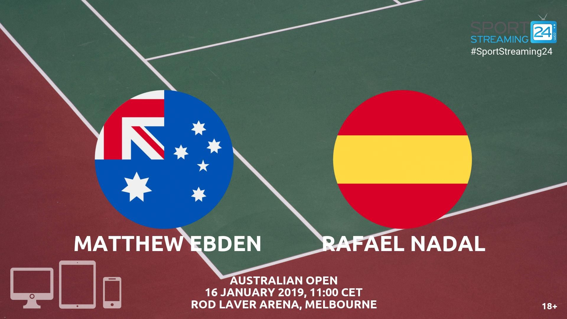 Matthew Ebden vs Rafael Nadal Live Streaming Tennis