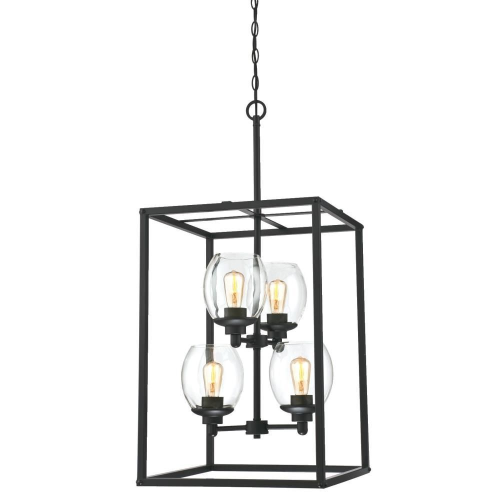 Westinghouse Ardleigh 4 Light Matte Black Chandelier With Clear Glass Shades