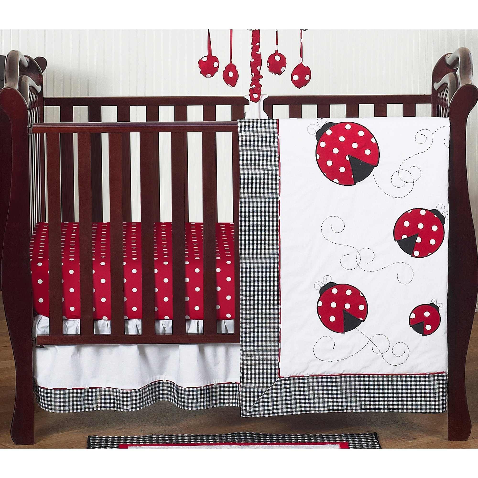 Sweet Jojo Designs Red And Black Little Ladybug 4 Piece Bumperless Crib Bedding Set Multi Cotton Polka Dot Bumperless Crib Bedding Girl Crib Bedding Sets