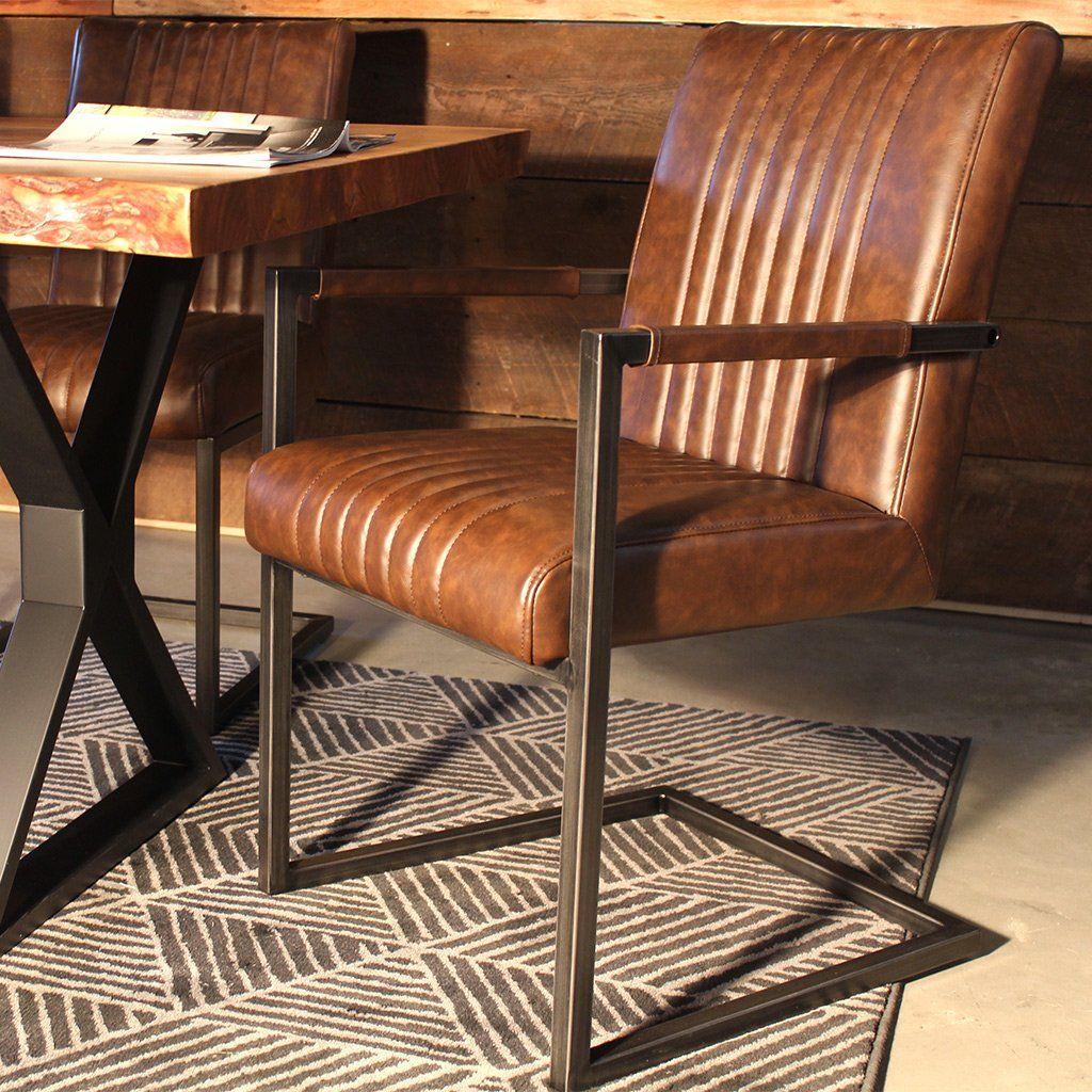 Perfect CALEB Industrial Armchair Vintage Brown Leather U2013 Wazo Furniture