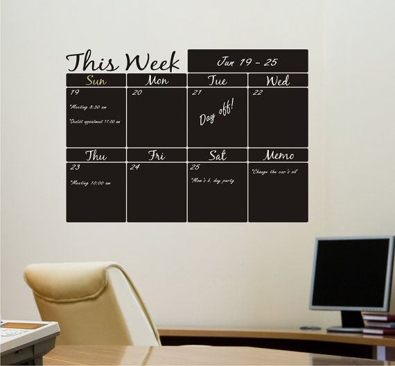 Weekly Planner Chalkboard Calendar with Memo  by canodesigns, $42.99
