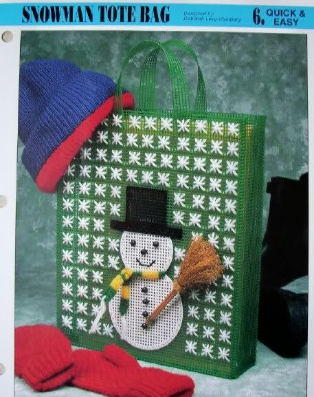 Snowman tote bag plastic canvas pattern new purse for Snowman pocket tissues
