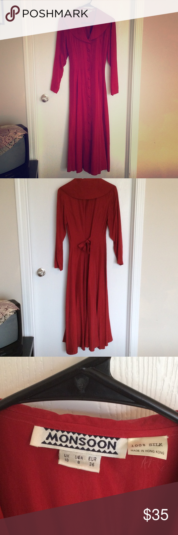 Vintage silk red floor length gown size this fabulous gown is
