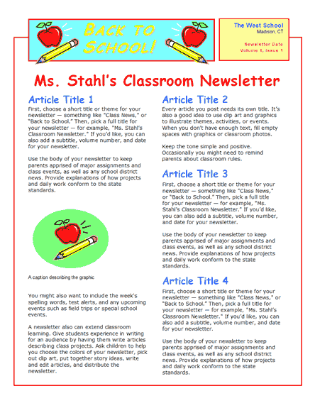 Free Word Newsletter Templates | Pin Newsletter Templates School ...