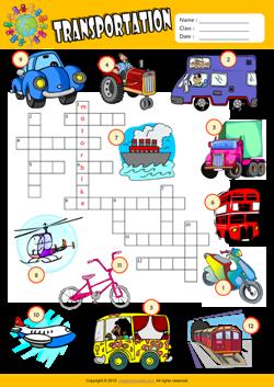 transportation crossword puzzle esl vocabulary worksheet mau hinh. Black Bedroom Furniture Sets. Home Design Ideas