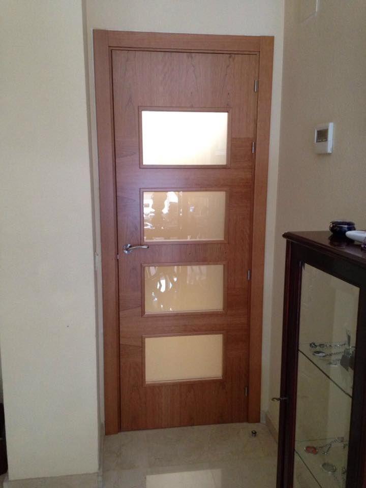 Original de interior modelo k15 en madera de cerezo vidriera va1 con cristal mate puertas - Puertas interior asturias ...