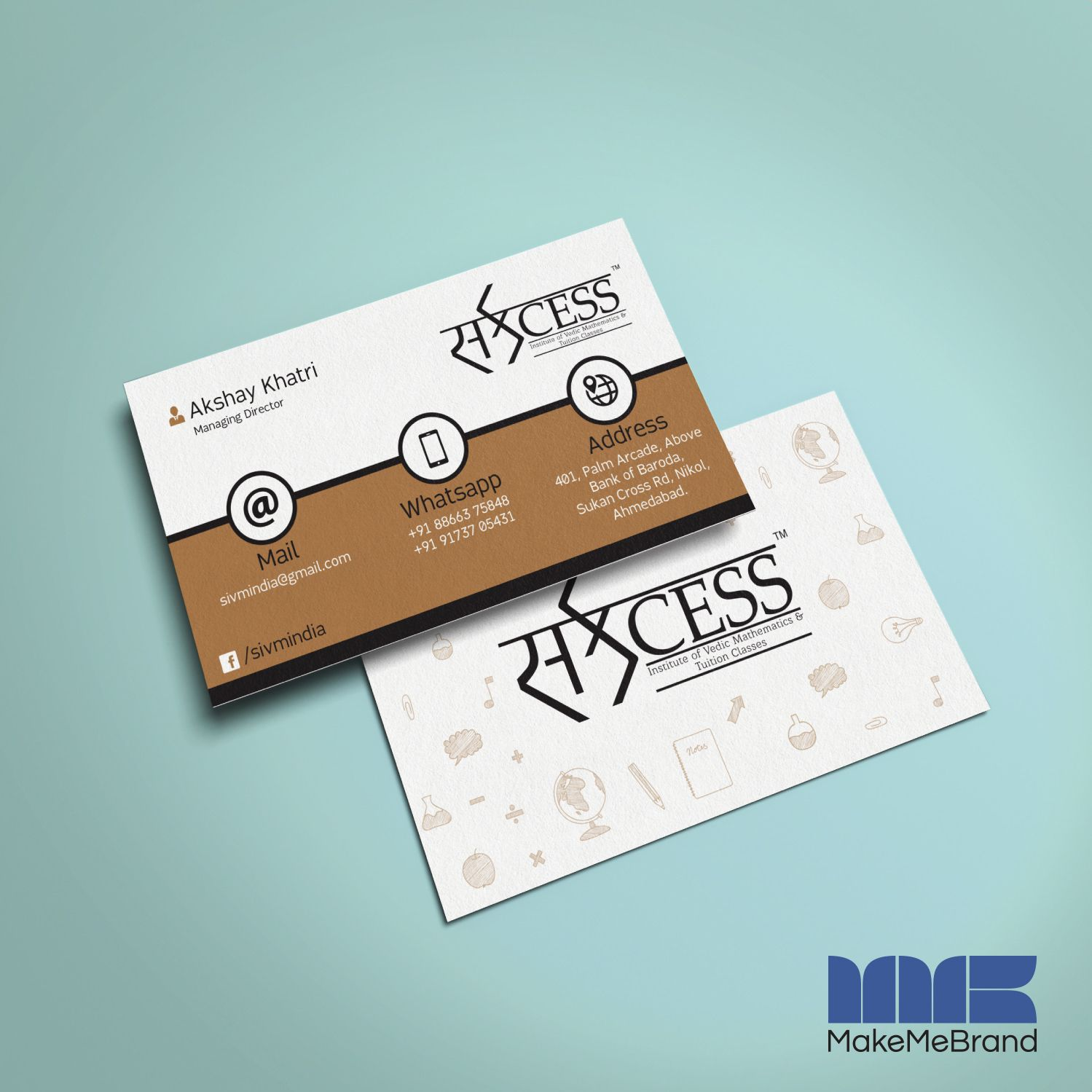 Business Card Designed For Institute Based In Ahmedabad Gujarat India Makemebrand Business Card Design Card Design Best Digital Marketing Company