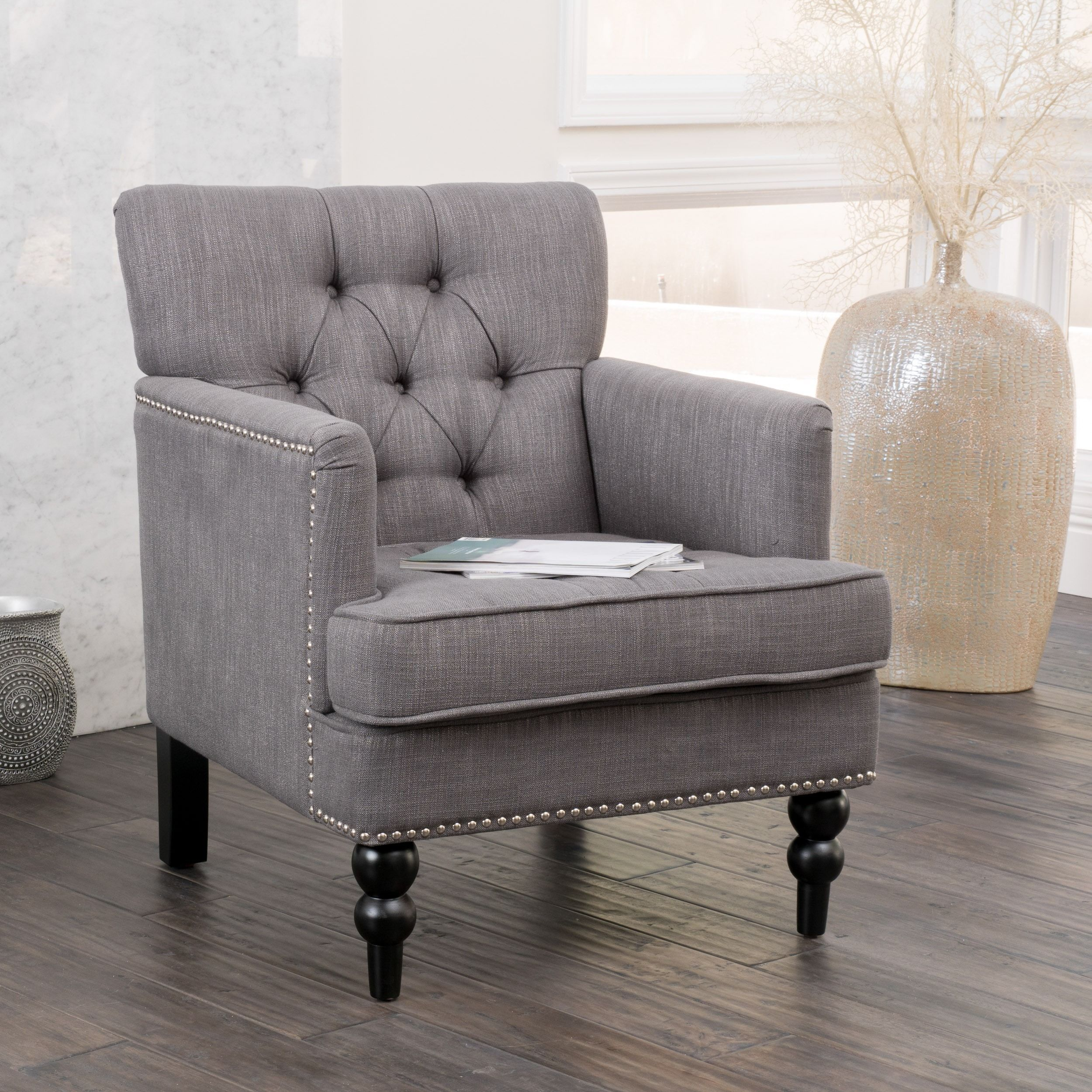 Overstock Furniture Clearance: Malone Charcoal Grey Club Chair By Christopher Knight Home