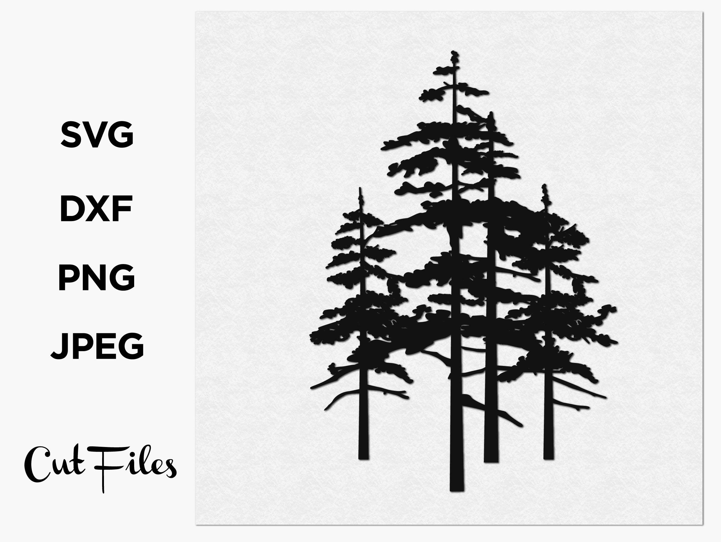 Wall art, Pine Tree SVG File for Cricut, Trees Vector