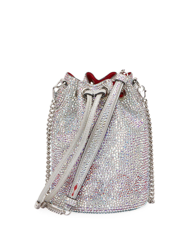 16369b5372f Christian Louboutin Marie Jane Crystal-Beaded Suede Bucket Bag ...