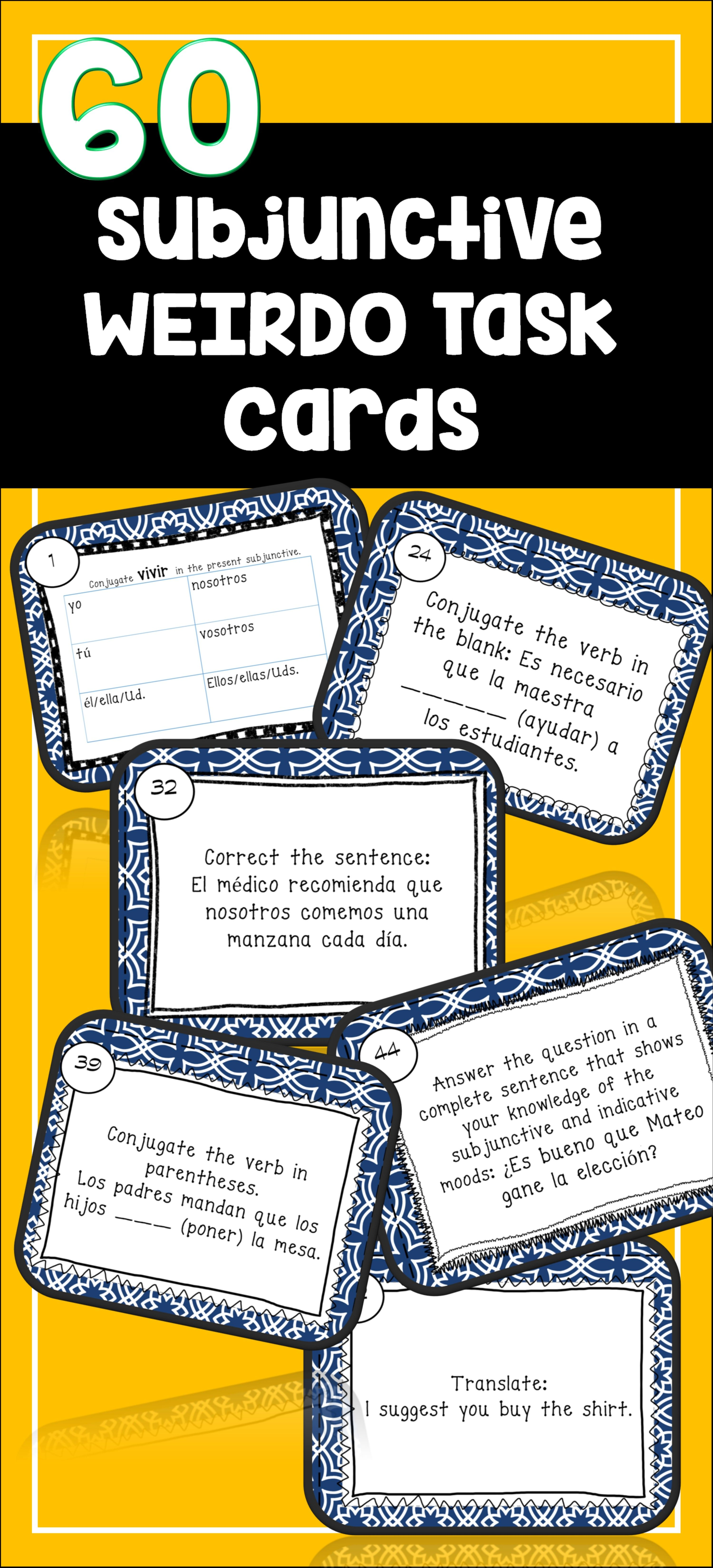 Spanish Subjunctive Task Cards With Weirdo El Subjuntivo