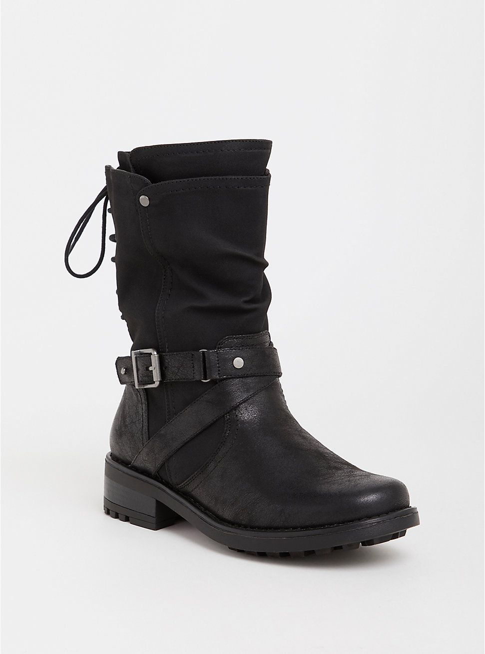 2957a1b5433 Black Faux Leather Moto Boot (Wide Width) | Kenzie | Moto boots ...
