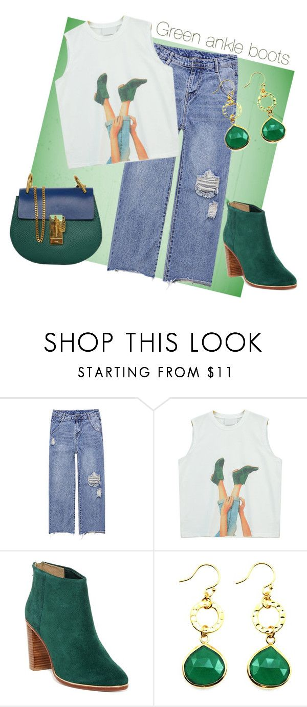 """Green ankle boots"" by mia-de-neef ❤ liked on Polyvore featuring Chicnova Fashion, Ted Baker and Chloé"