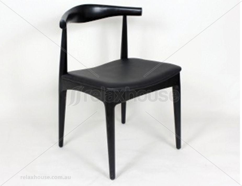 $185 Elbow Chair   Replica Hans Wegner   Black American Ash   Black
