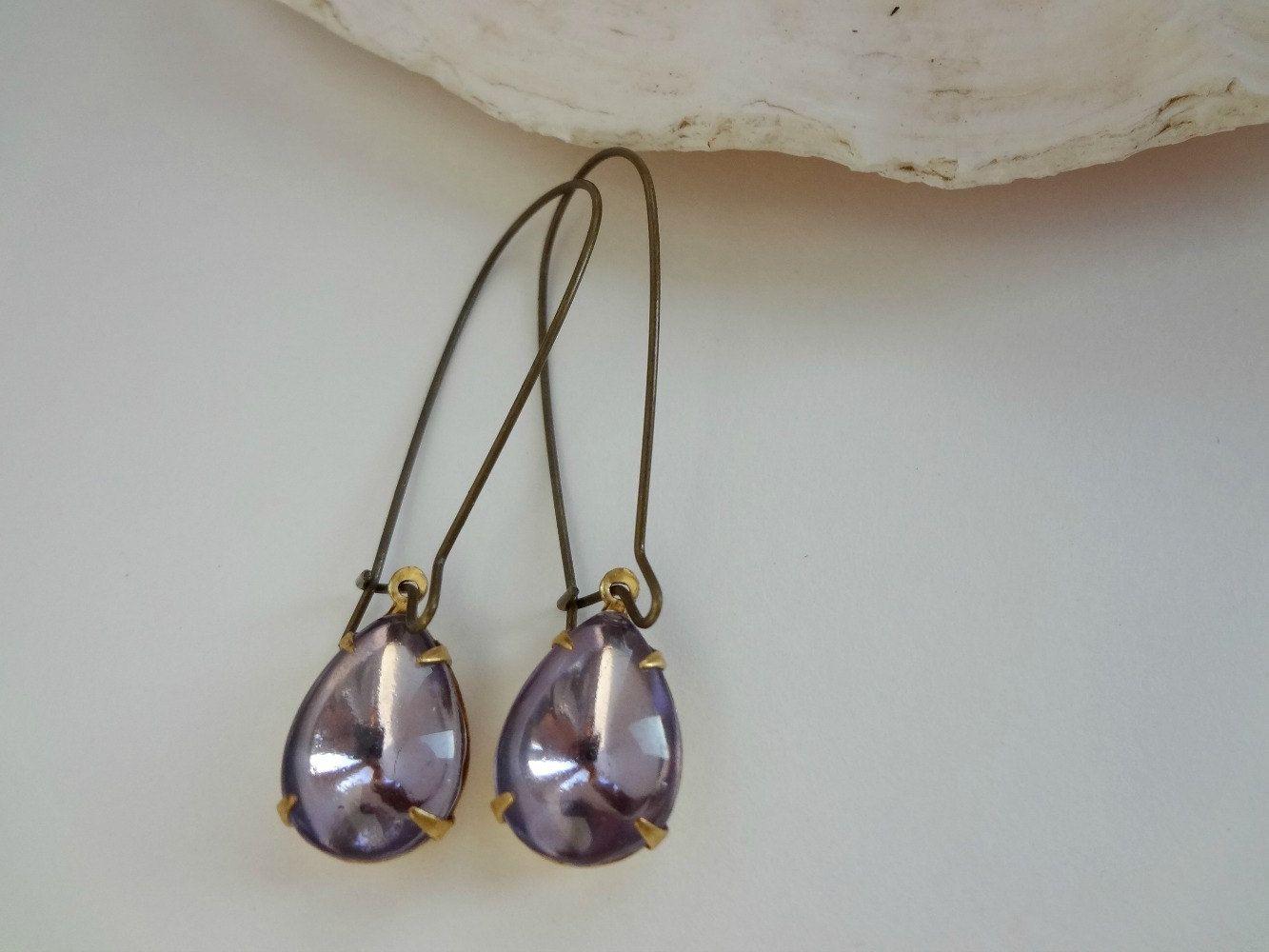 $18 / Simple Teardrop Earrings / Amethyst Pear Shape Glass / Gift ...