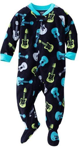 927dc1a2a Carter s Navy Guitar Fleece Blanket Sleeper Footed Pajamas (24 ...