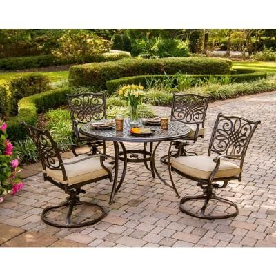Hanover Traditions 5 Piece Outdoor Patio Dining Set With 4 Cushioned Swivel  Chairs And